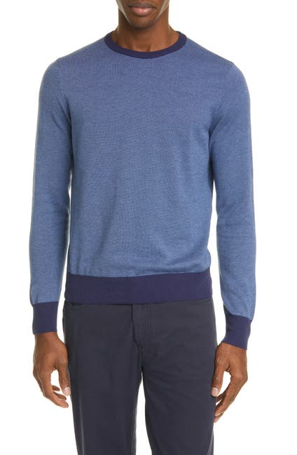 Image of Canali Classic Fit Dot Cotton Crewneck Sweater