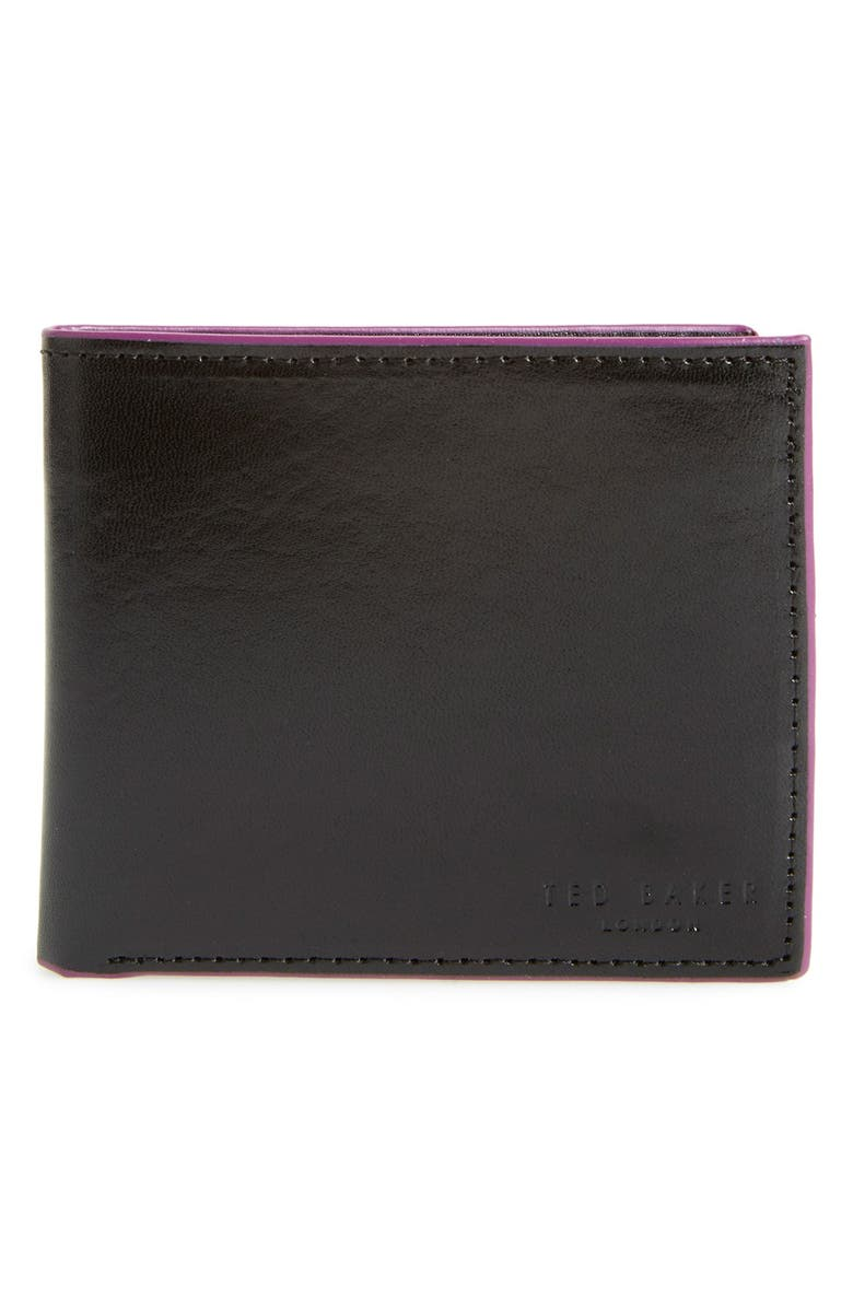 TED BAKER LONDON 'Paintin' Contrast Edge Leather Wallet, Main, color, 001