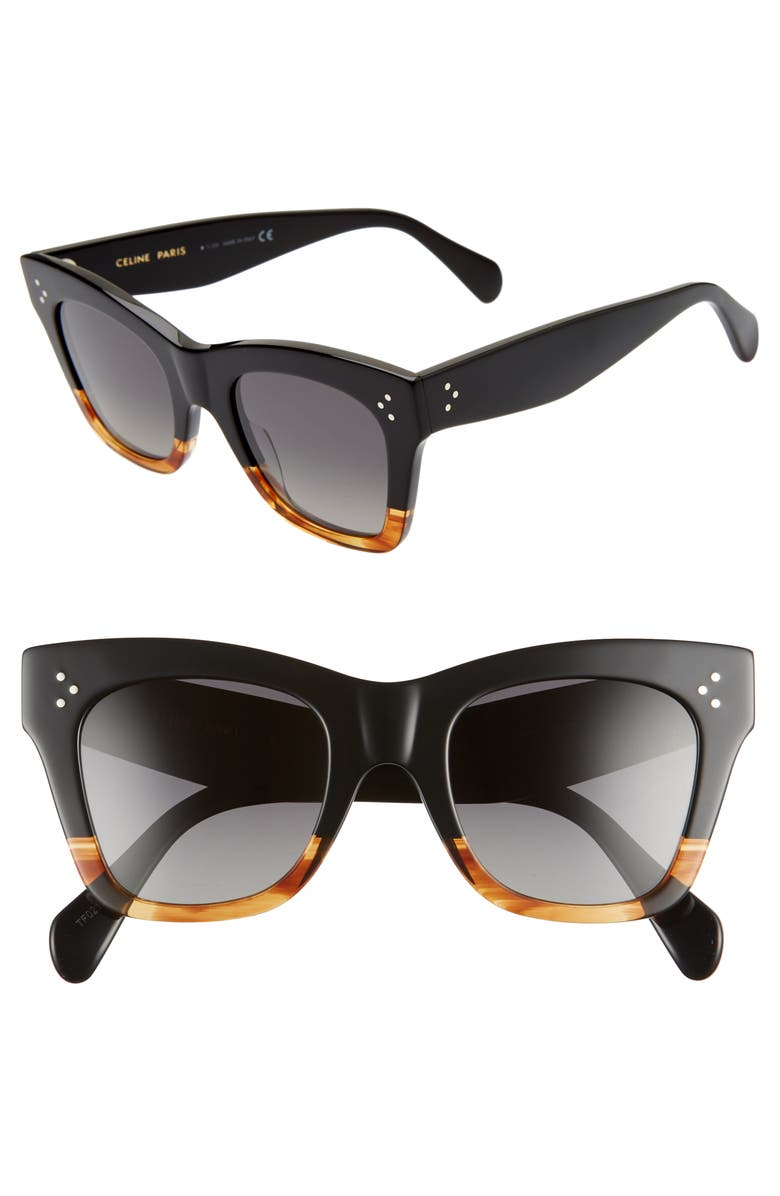 CELINE 50mm Square Sunglasses, Main, color, MATTE BLACK/ SMOKE POLARIZED