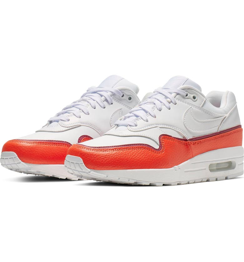 NIKE Air Max 1 SE Sneaker, Main, color, WHITE/ ORANGE/ BERRY/ WHITE