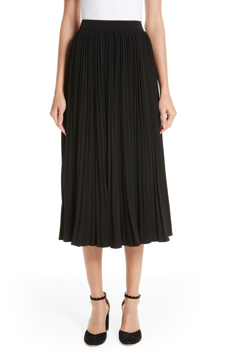 CO Essentials Pleated Midi Skirt, Main, color, BLACK