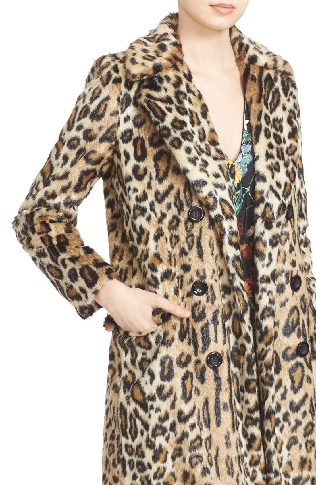 ,                             'Montana' Leopard Print Faux Fur Double Breasted Coat,                             Alternate thumbnail 3, color,                             219