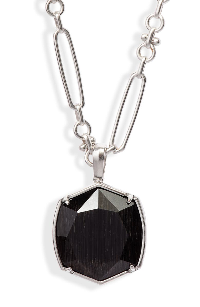 KENDRA SCOTT Davis Pendant Necklace, Main, color, RHODIUM/ BLACK CATS EYE