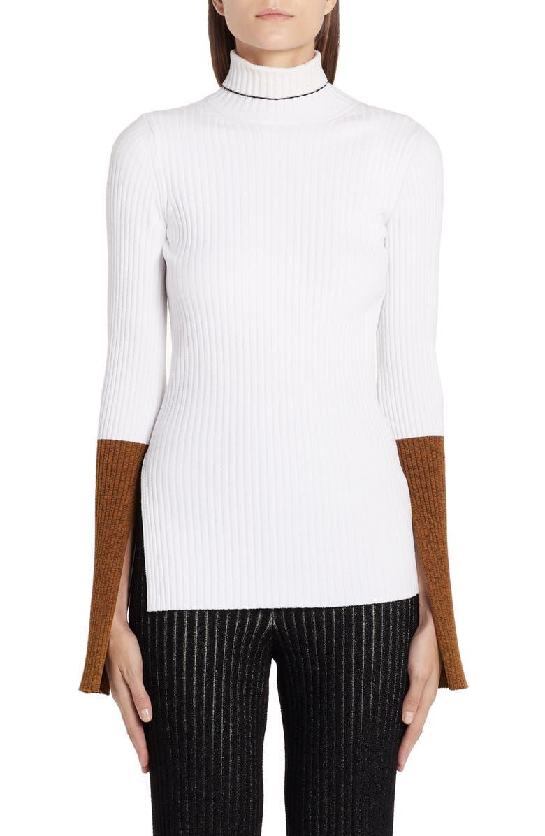 MONCLER GENIUS x 2 1952 Rib Turtleneck Sweater, Main, color, WHITE
