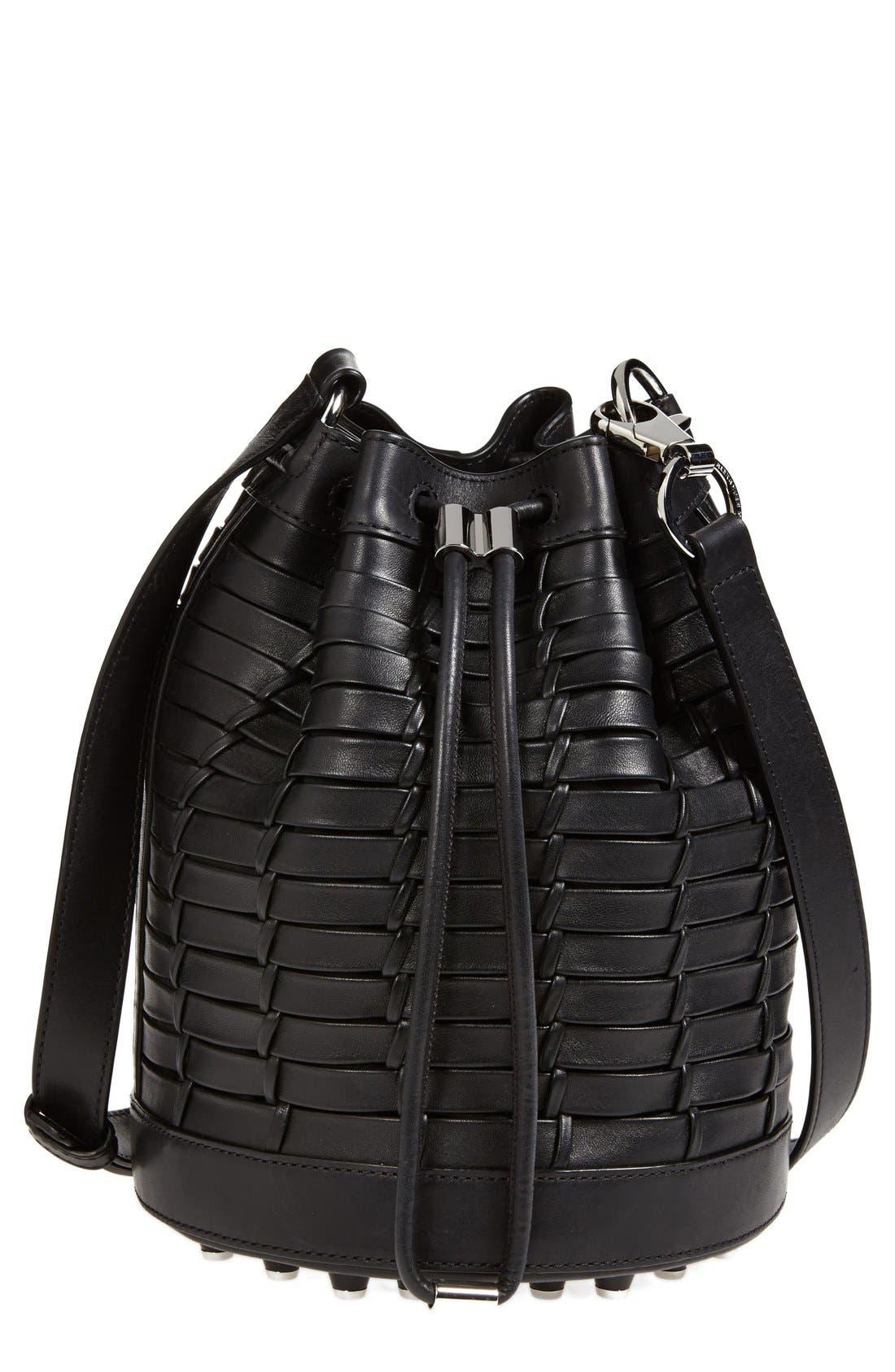 'Alpha' Woven Leather Bucket Bag, Main, color, 001