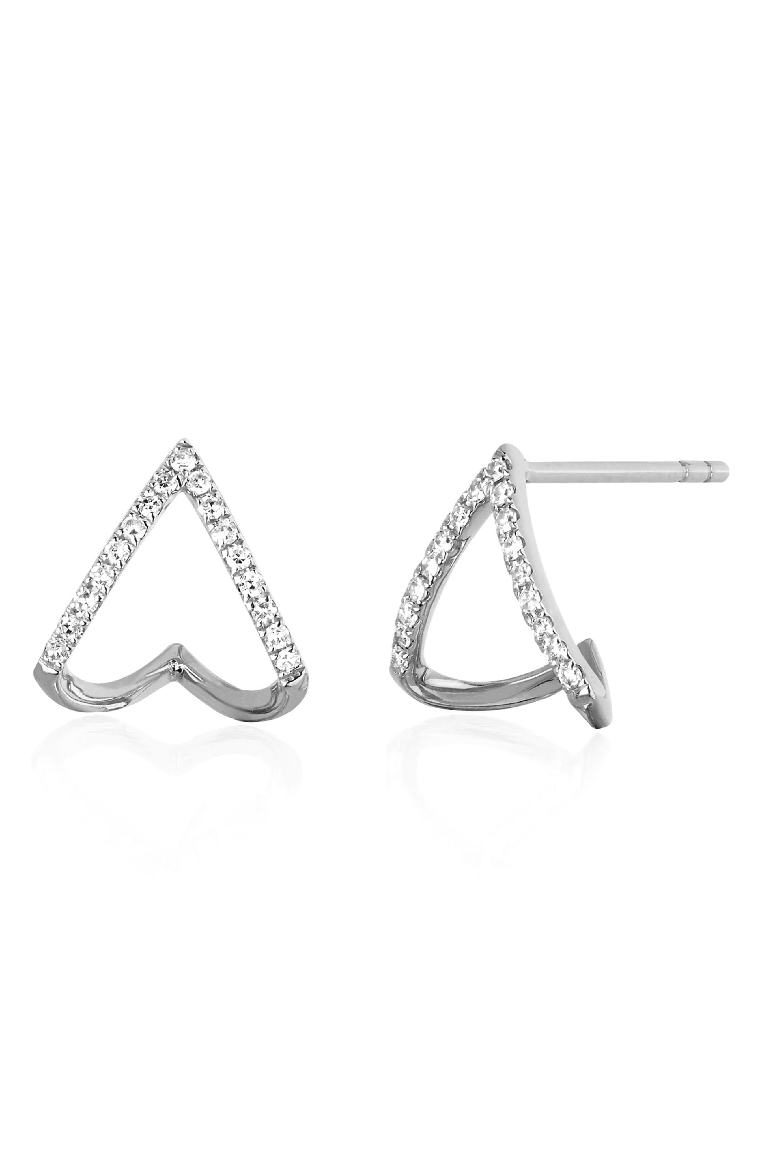 Diamond Chevron Huggie Earrings