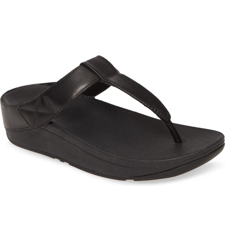 FITFLOP Mina Flip Flop, Main, color, ALL BLACK LEATHER
