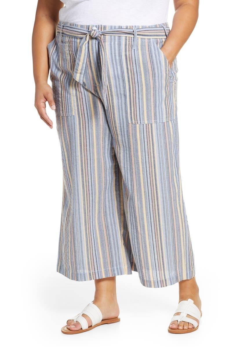 SEVEN7 Stripe Tie Waist Wide Leg Crop Cotton Pants, Main, color, FADED DENIM