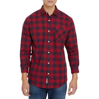 Frank And Oak Classic Fit Plaid Flannel Button-Up Shirt, Red