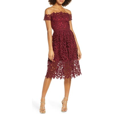 Chi Chi London Off The Shoulder Lace Cocktail Dress, Burgundy