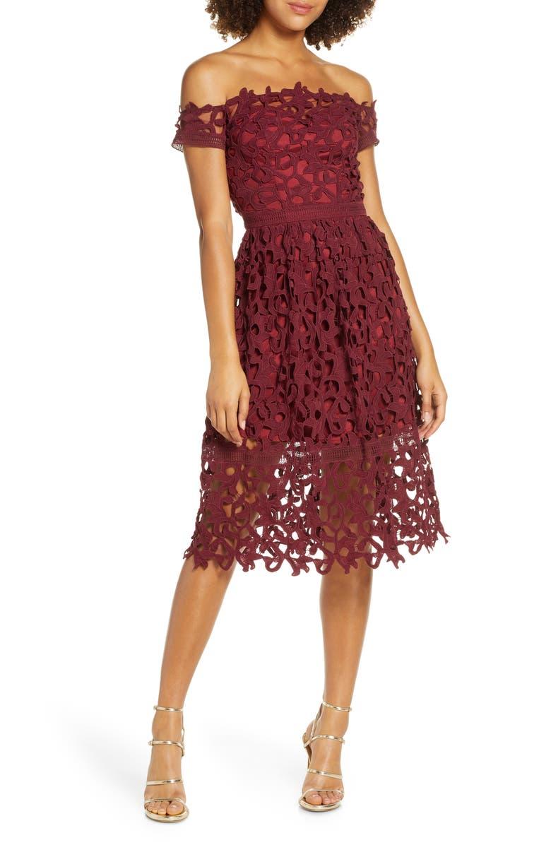 CHI CHI LONDON Off the Shoulder Lace Cocktail Dress, Main, color, 930