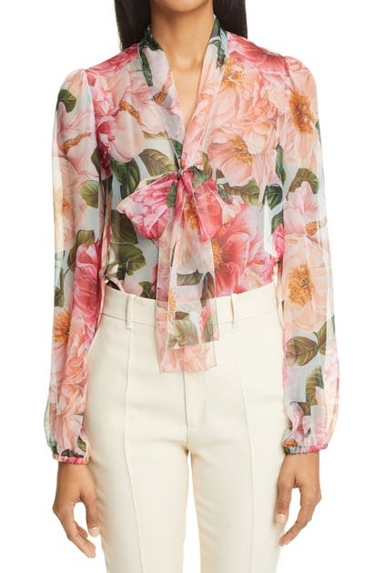 Dolce & Gabbana CAMELLIA PRINT TIE NECK SILK CHIFFON BLOUSE