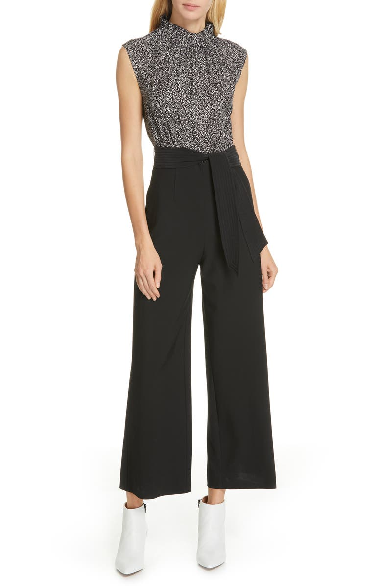 TAILORED BY REBECCA TAYLOR Mix Media Jumpsuit, Main, color, 001