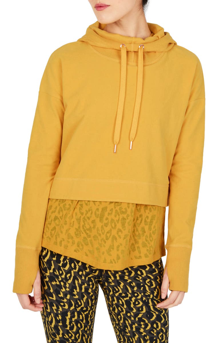 SWEATY BETTY Escape Luxe Crop Hoodie, Main, color, TURMERIC YELLOW