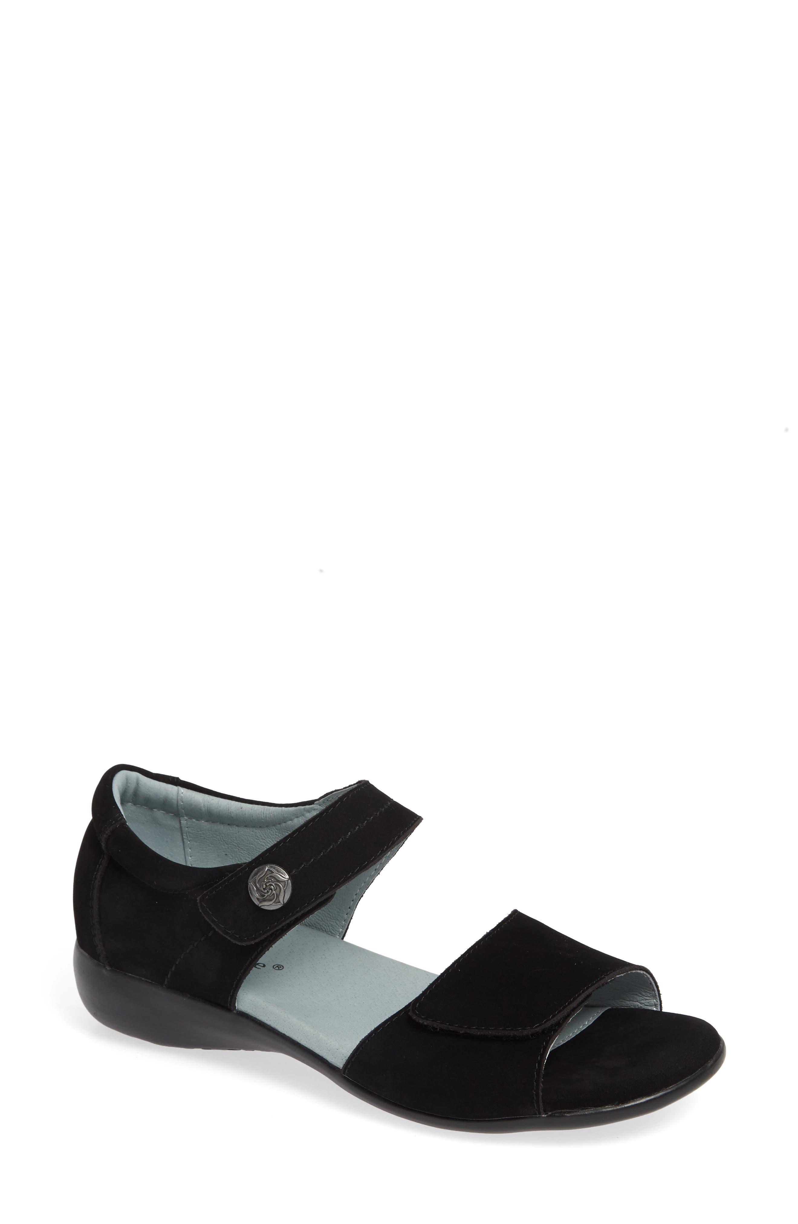 Superb Sandal, Main, color, BLACK NUBUCK LEATHER
