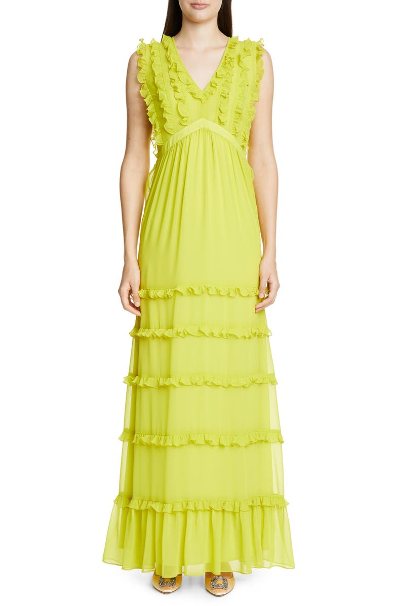 BADGLEY MISCHKA COLLECTION Sleeveless Ruffle Gown, Main, color, CITRINE