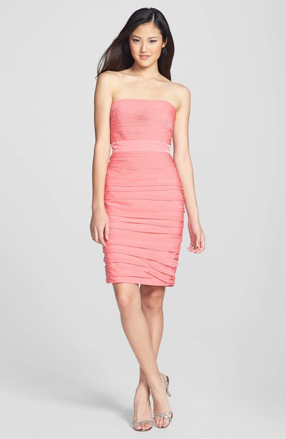 ,                             Ruched Strapless Cationic Chiffon Dress,                             Alternate thumbnail 80, color,                             805