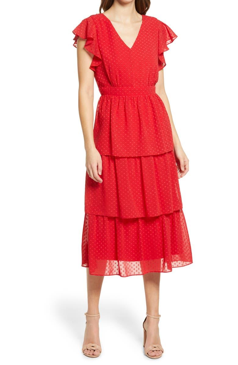 JULIA JORDAN Clip Dot Chiffon Midi Dress, Main, color, RED