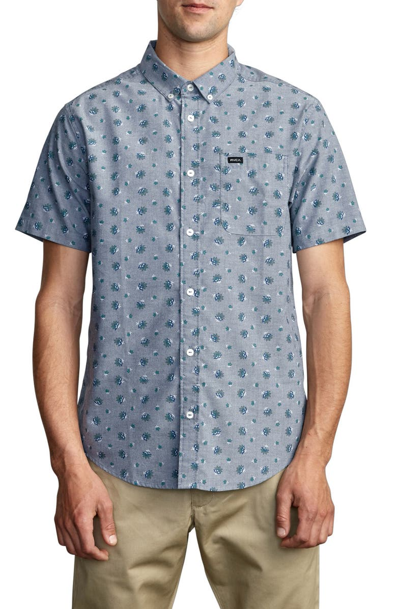 RVCA That'll Do Short Sleeve Button-Down Shirt, Main, color, DISTANT BLUE