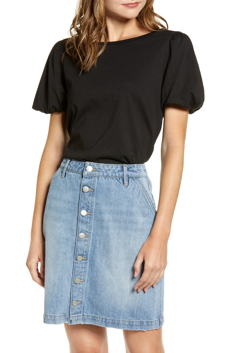 RACHEL PARCELL Bubble Sleeve Tee, Main, color, BLACK