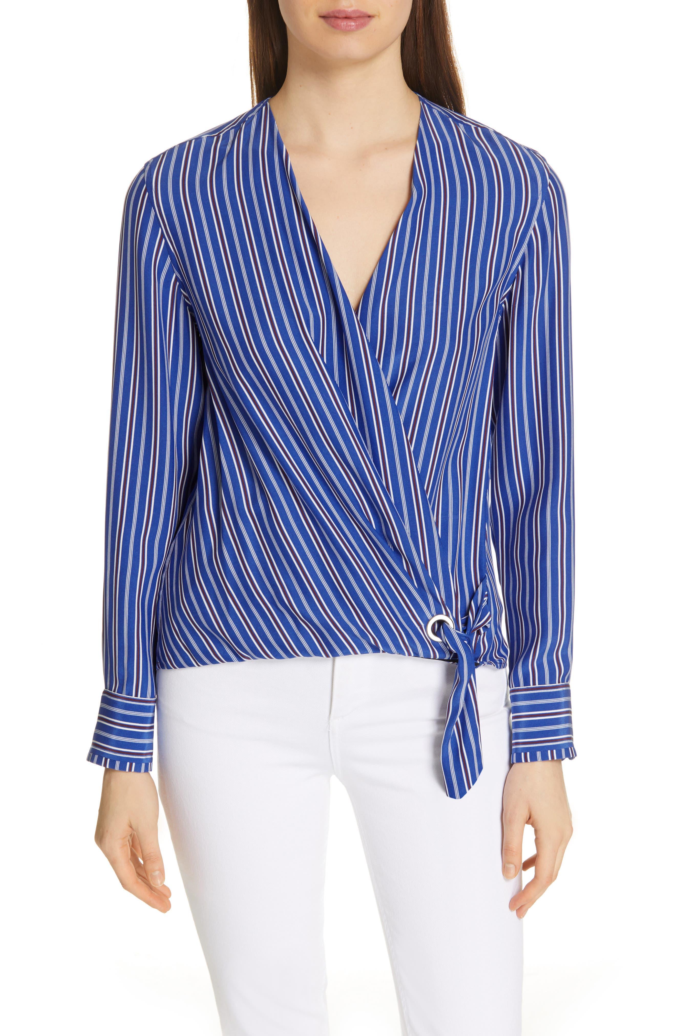 Felix Stripe Silk Wrap Top, Main, color, BLUE MULTI