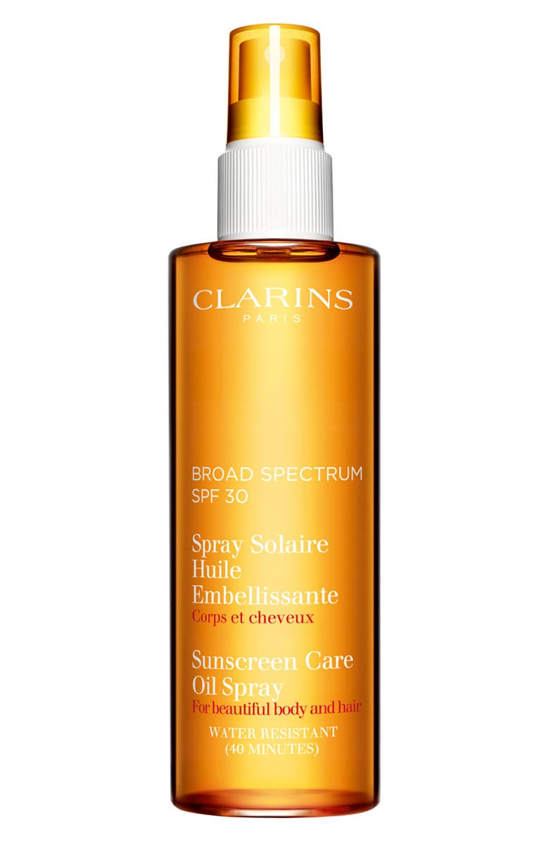 CLARINS Sunscreen Care Oil Spray SPF 30 for Skin & Hair, Main, color, 000