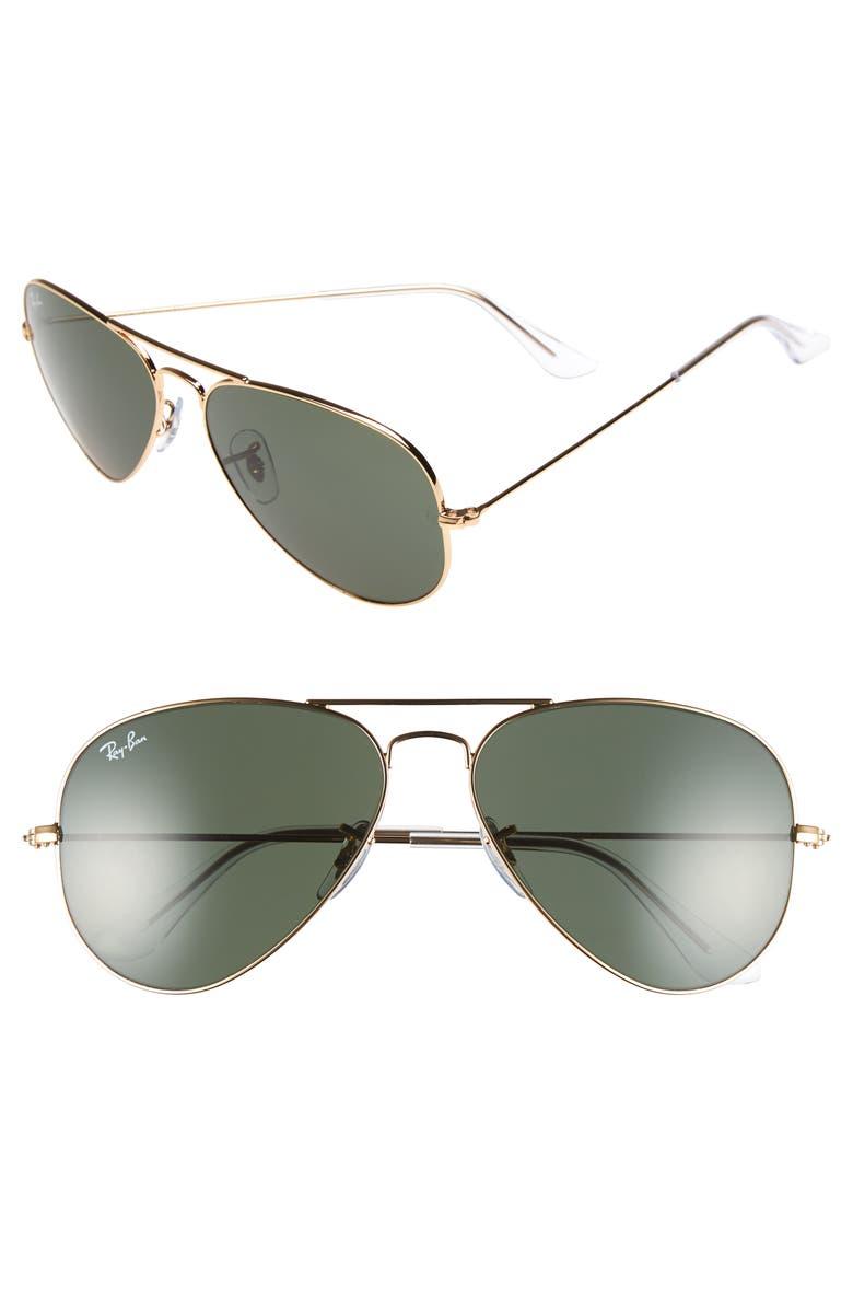 RAY-BAN Original Aviator 58mm Sunglasses, Main, color, GOLD/ GREY GREEN