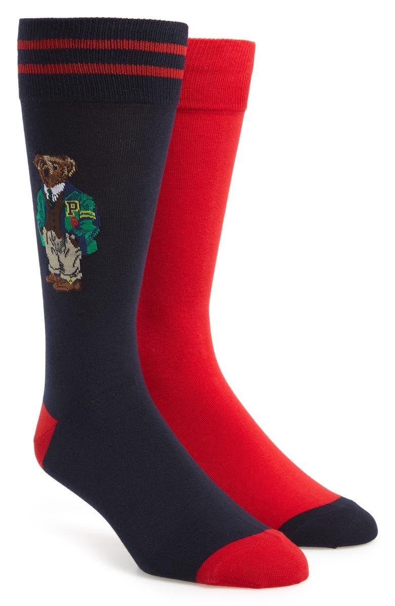 POLO RALPH LAUREN Varsity Bear 2-Pack Socks, Main, color, 401
