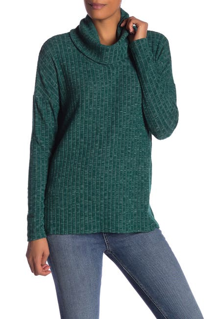 Image of Abound Cowl Neck Ribbed Tunic Sweater