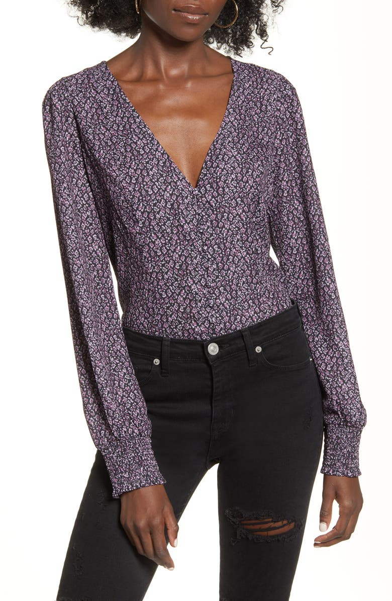 LEITH Button Front Blouse, Main, color, BLACK ABSTRACT DOT