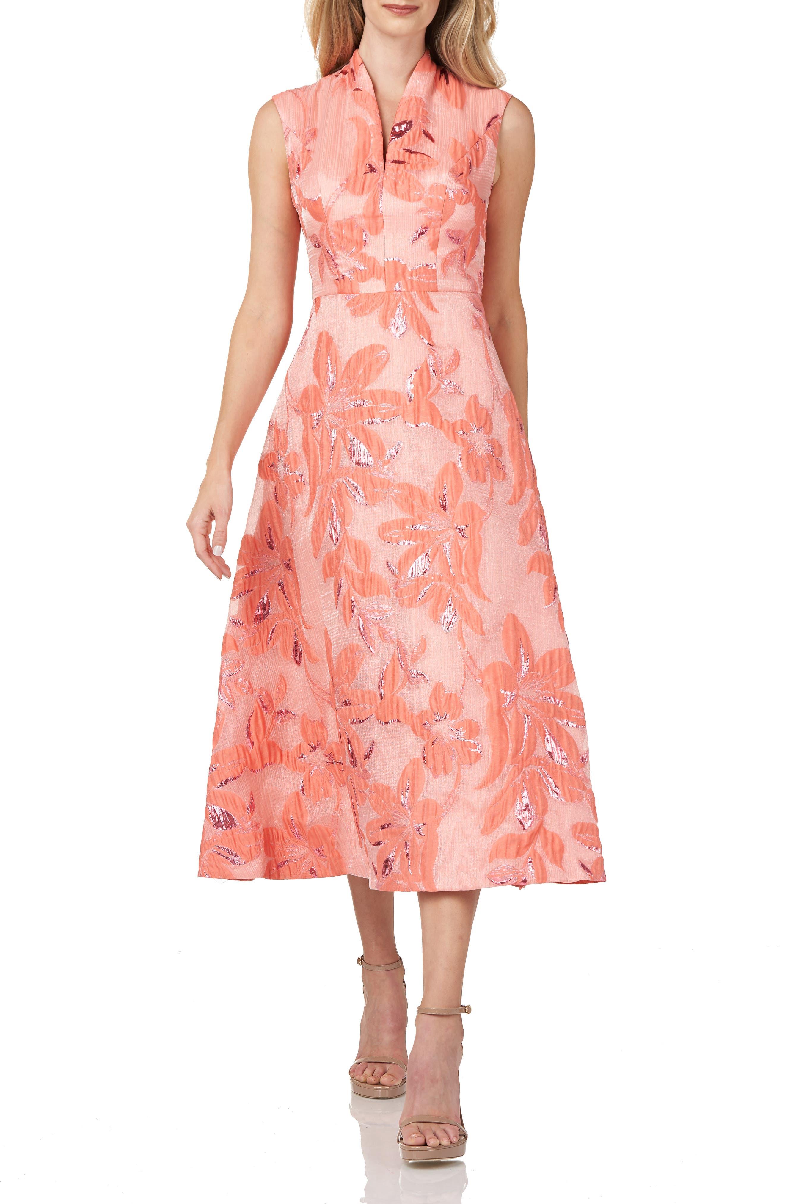 Organza Jacquard Midi Cocktail Dress