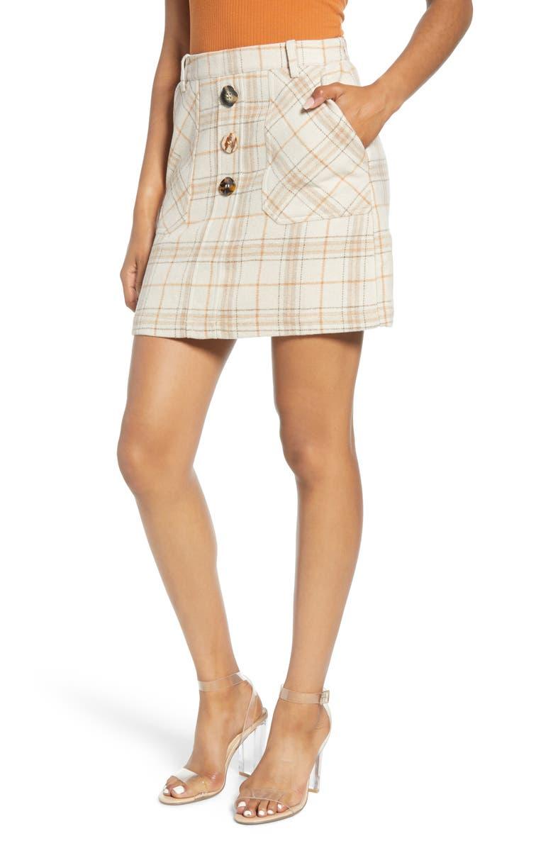 J.O.A. Plaid Miniskirt, Main, color, BEIGE