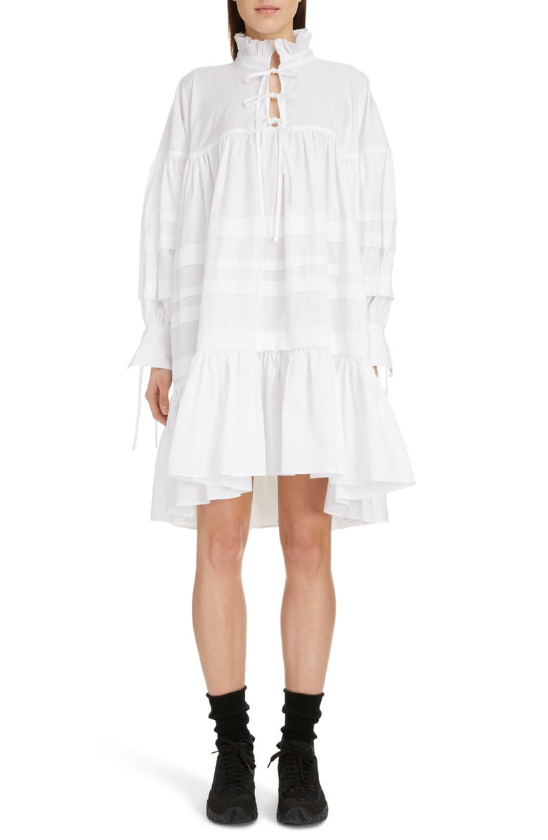 CECILIE BAHNSEN Macy Pleated Oversized Shirtdress, Main, color, WHITE