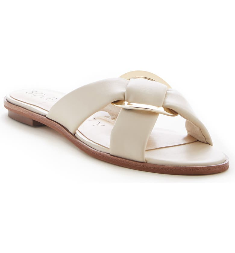 SOLE SOCIETY Sainne Slide Sandal, Main, color, CREAM LEATHER