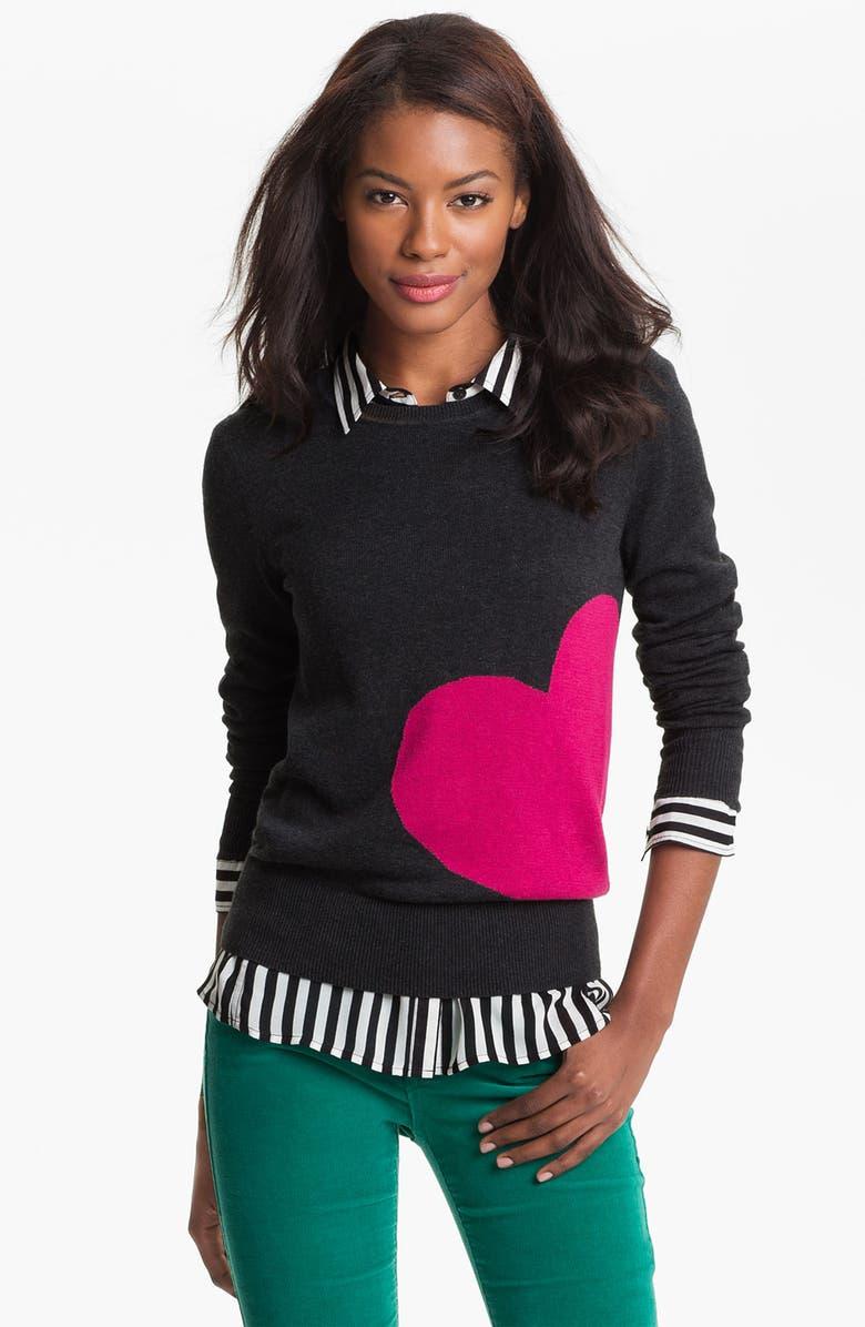 CASLON<SUP>®</SUP> Patterned Crewneck Sweater, Main, color, 020