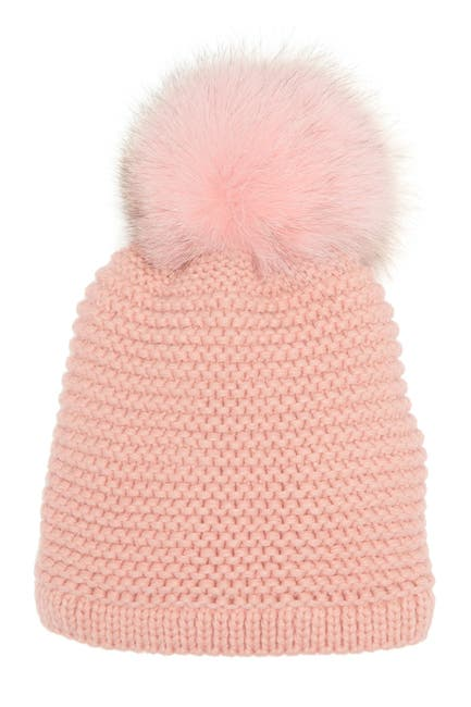 Image of Kyi Kyi Genuine Fox Fur Pompom Knit Beanie