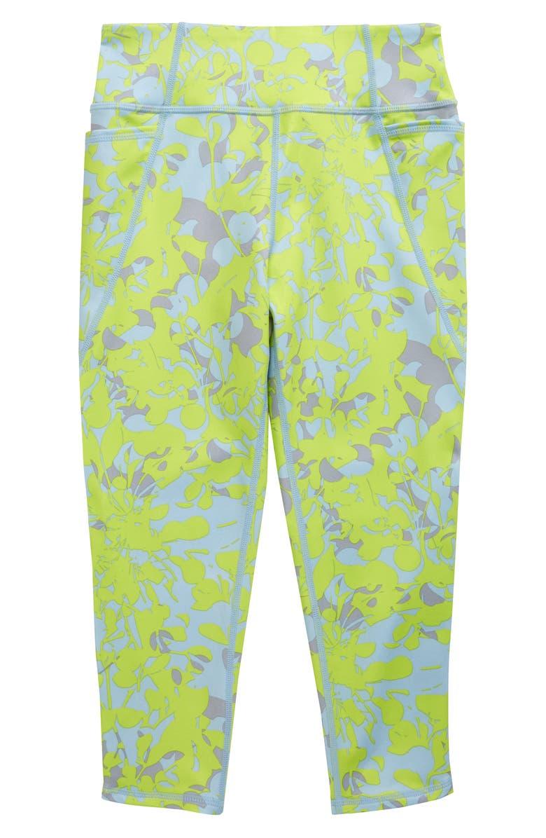 ZELLA GIRL Kids' Sassy Pocket Crop Leggings, Main, color, GREEN DRAGONFLY CAMO FLORAL