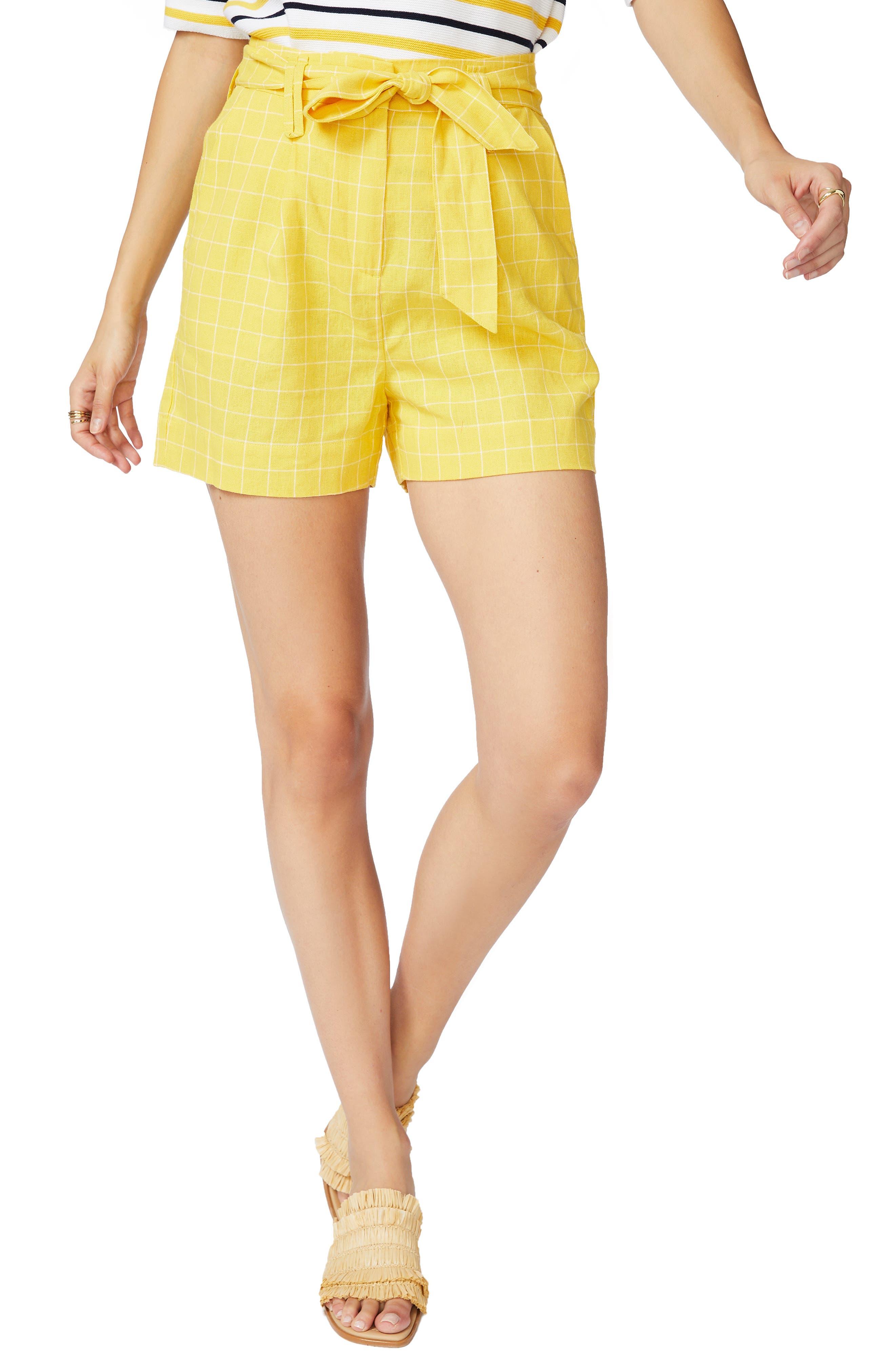 Tie Waist Windowpane Shorts