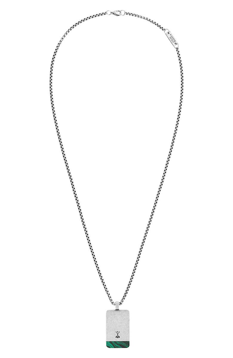 STEVE MADDEN Dog Tag Necklace, Main, color, GREEN/ SILVER