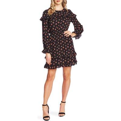 Cece Wildflower Fling Long Sleeve Ruffle Dress, Black