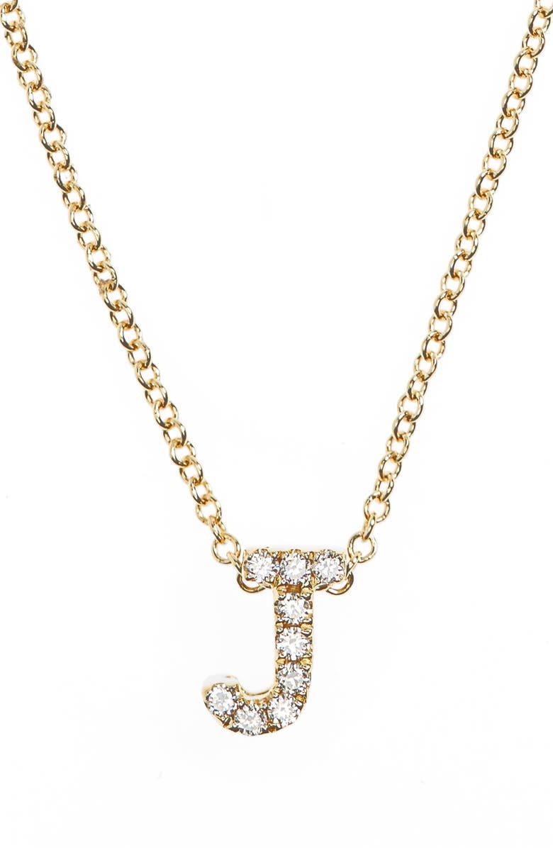 BONY LEVY 18k Gold Pavé Diamond Initial Pendant Necklace, Main, color, YELLOW GOLD - J