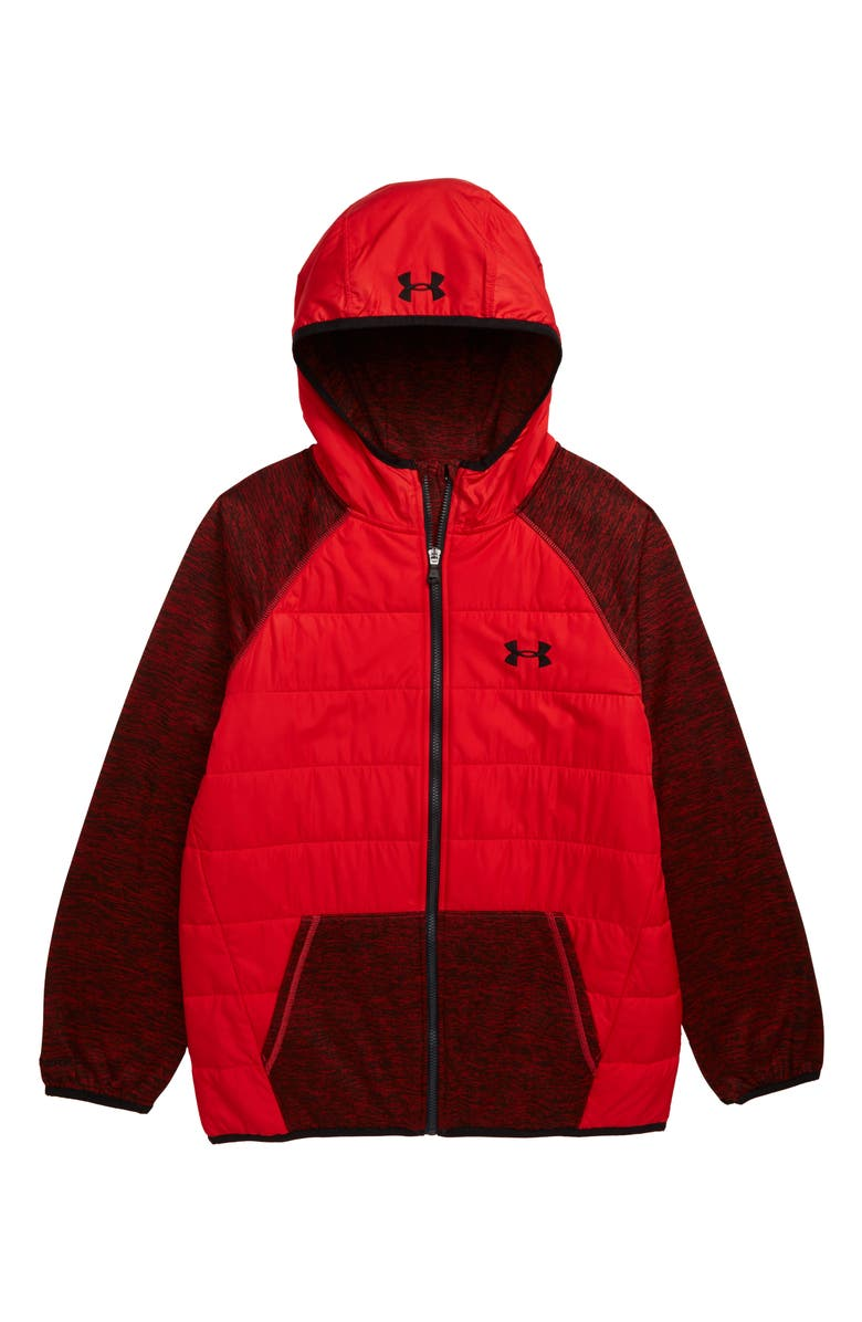 UNDER ARMOUR Day Trekker Water Resistant ColdGear<sup>®</sup> Hooded Puffer Jacket, Main, color, RED