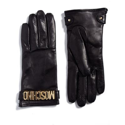 Moschino Logo Leather Gloves, Black