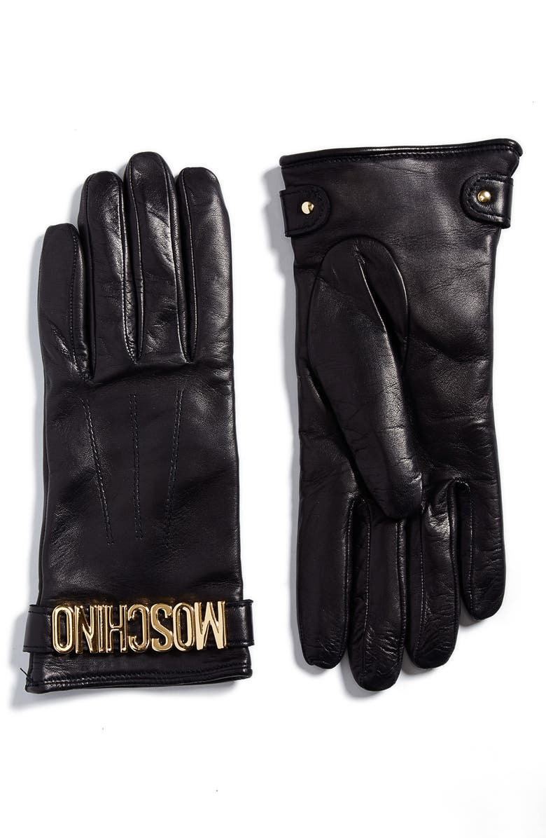 MOSCHINO Logo Leather Gloves, Main, color, BLACK/ GOLD
