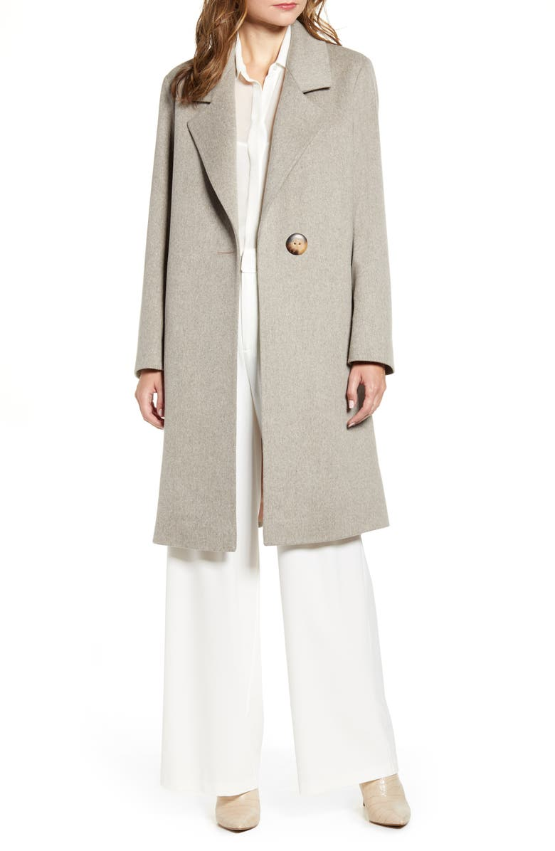 FLEURETTE One-Button Wool Coat, Main, color, OATMEAL
