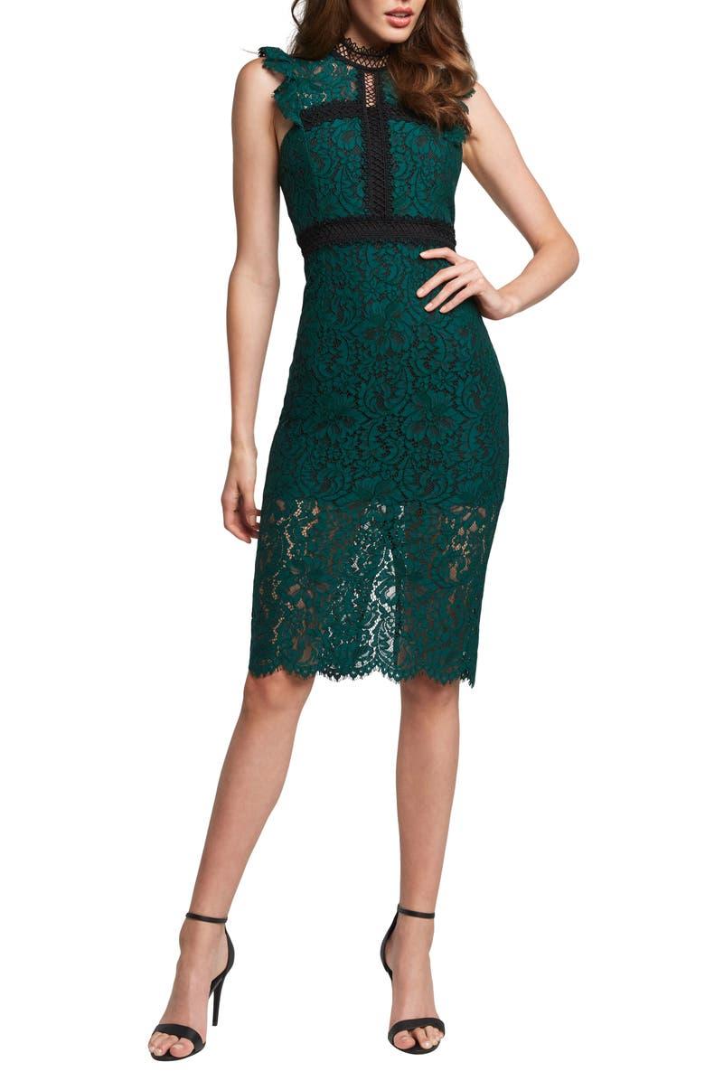 BARDOT Latoya Lace Body-Con Dress, Main, color, HUNT GREEN