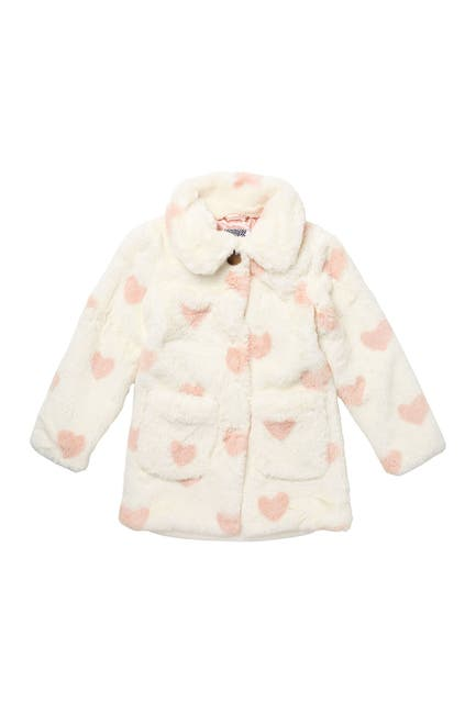 Image of Kensie Girl Heart Print Faux Fur Coat