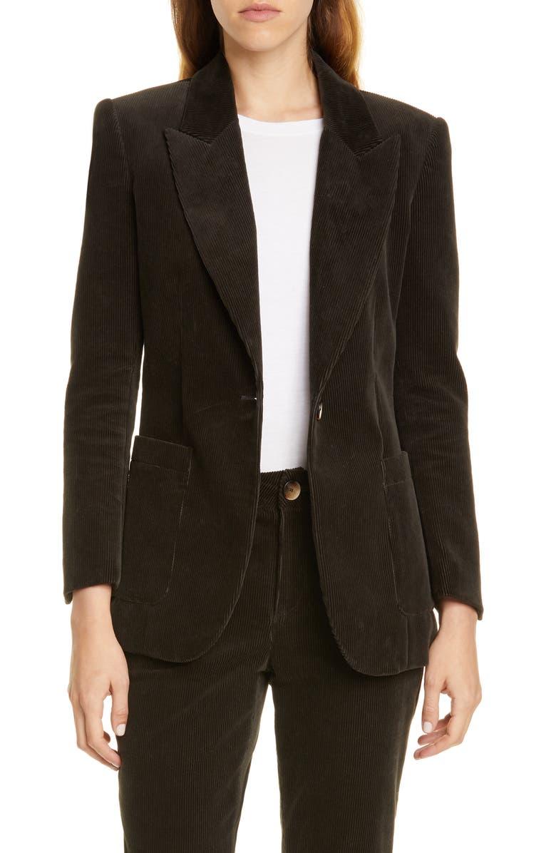 TRAVE Eleanor Slim Corduroy Jacket, Main, color, GREEN RIVER