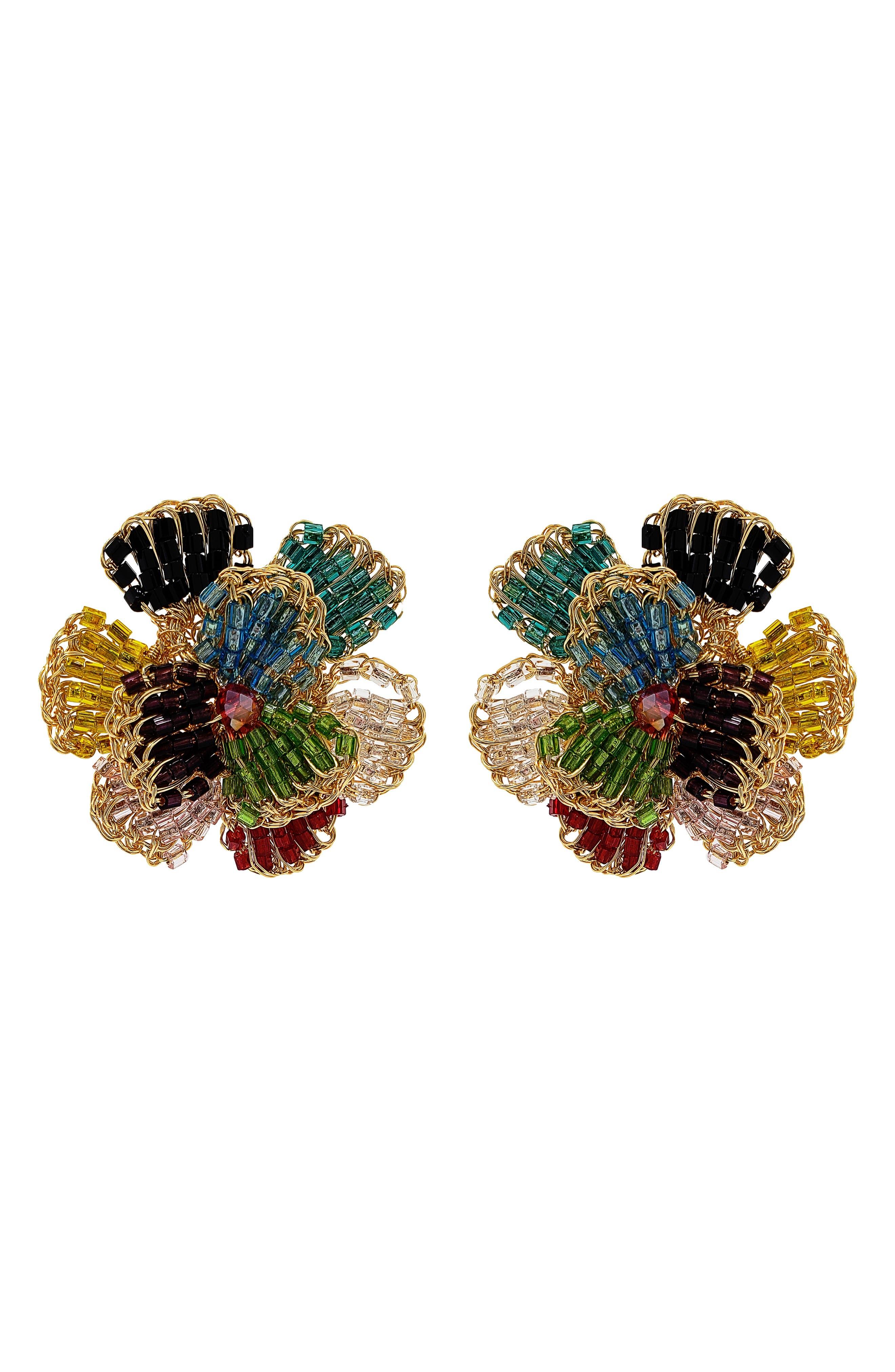 Crochet Pansy Drop Earrings