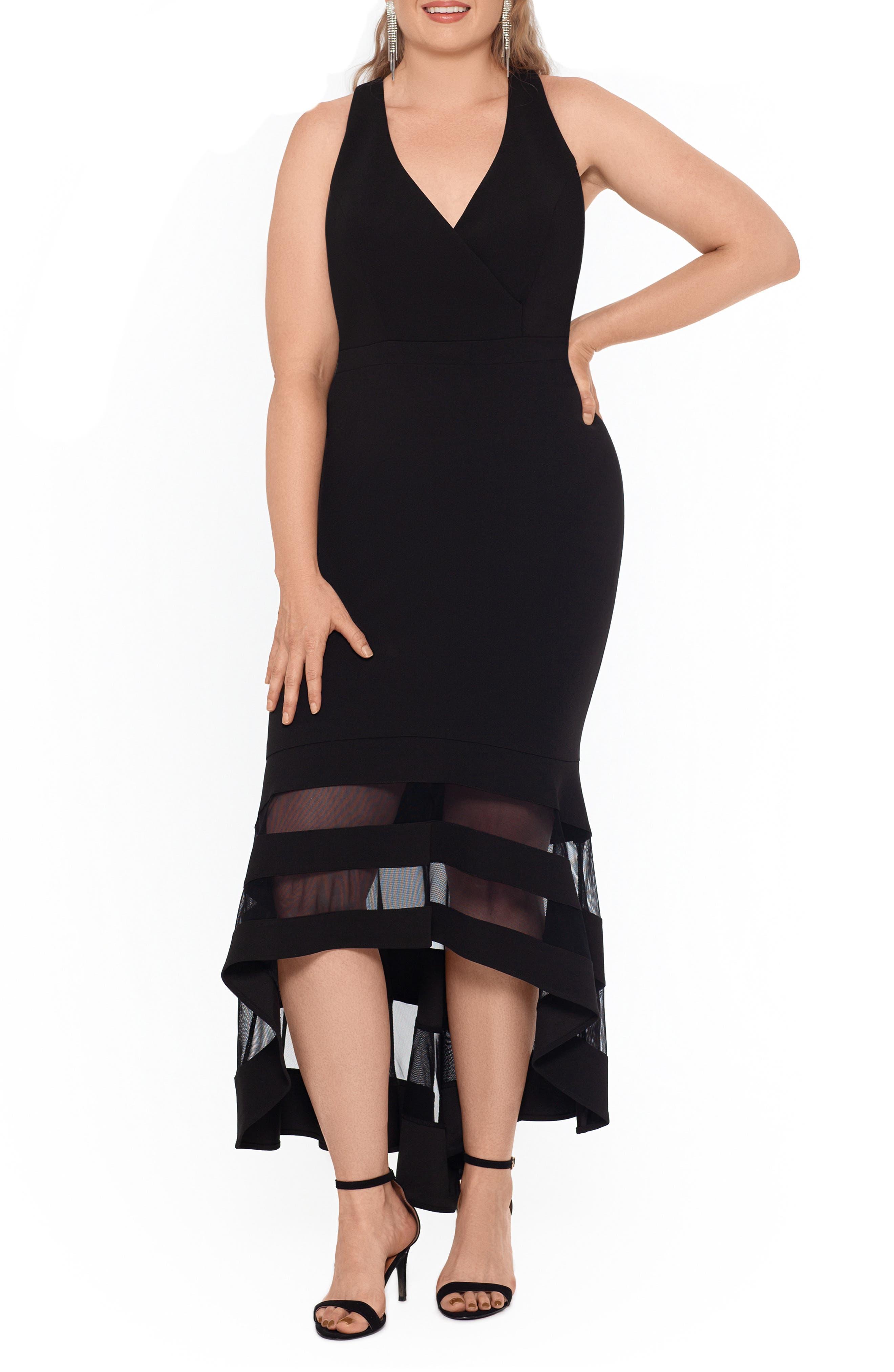 Image of XSCAPE High/Low Flounce Midi Dress